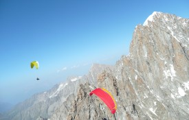 Flying over Le Dru Chamonix